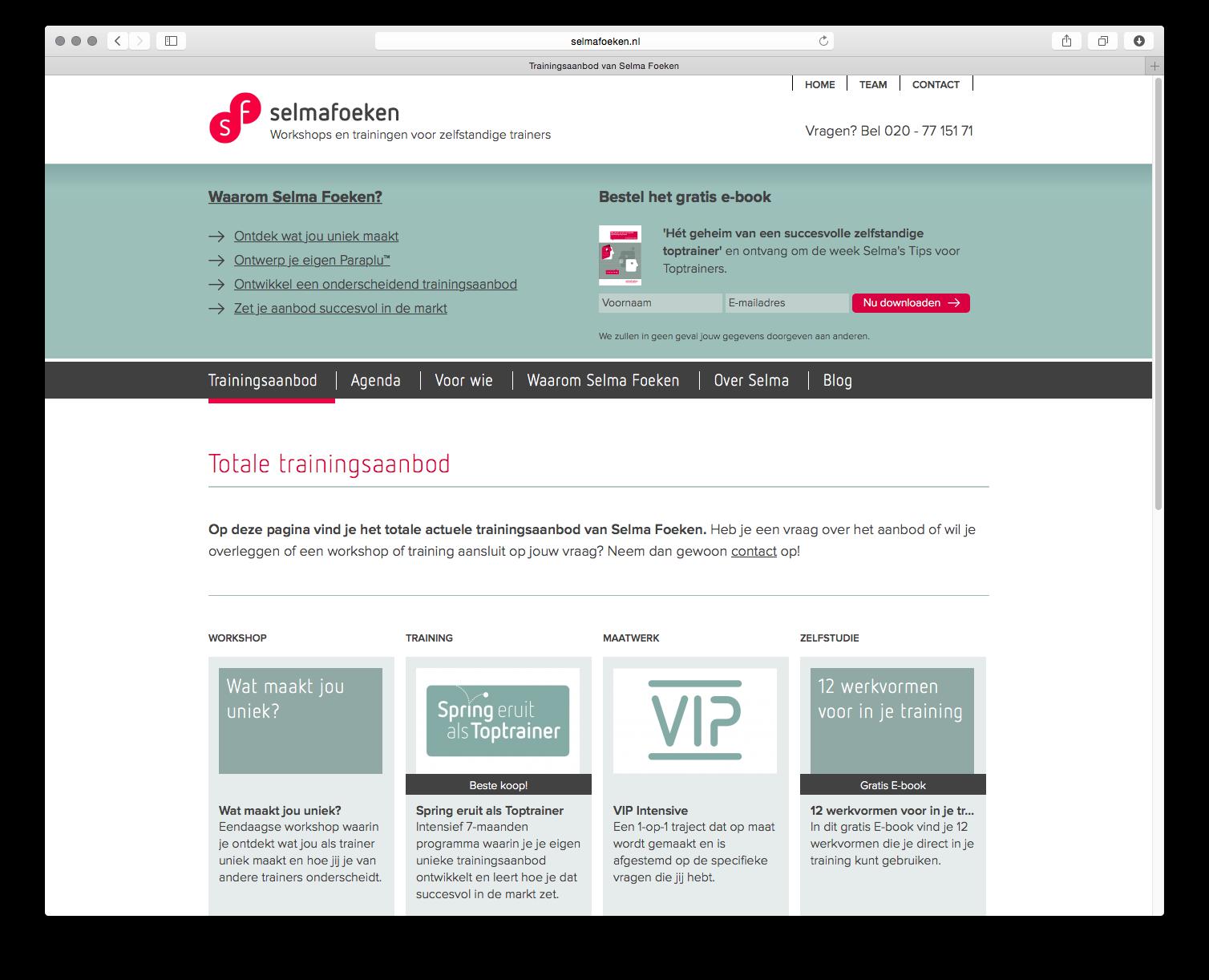 Webdesign cursusaanbod Selma Foeken